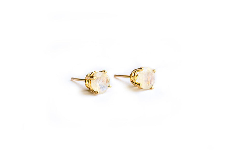 Circle Moon Studs | Circle Rainbow Moonstone 14k Gold Earrings - Melissa Tyson Designs