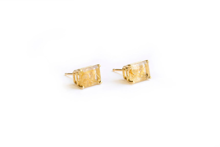 Wisp | Rutilated Quartz Studs 14k Gold - Melissa Tyson Designs