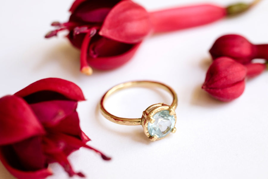 Blue Skies | Sky Blue Topaz Engagement Ring 14k Hammered Gold - Melissa Tyson Designs