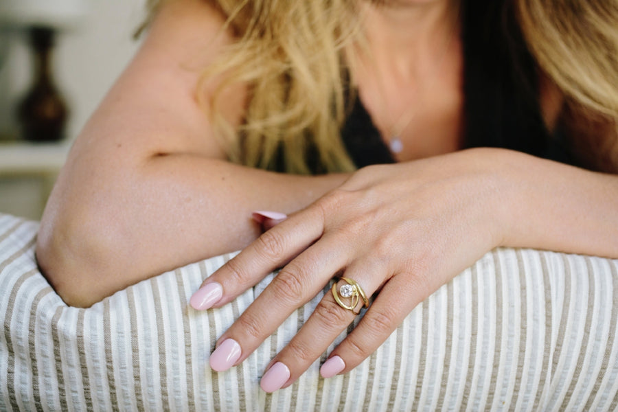 Swallowtail | Recycled Gold Organic Split Band Engagement Ring - Melissa Tyson Designs