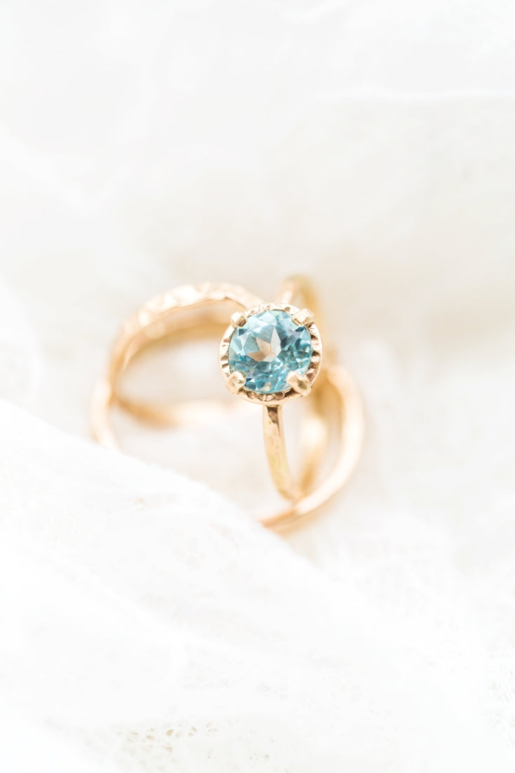 Sky Blue Topaz Engagement Ring 14k Hammered Gold
