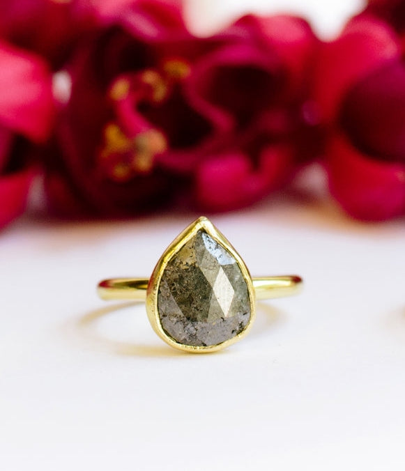 Ancient Gray | Gray Rose Cut Diamond Engagement Ring - Melissa Tyson Designs