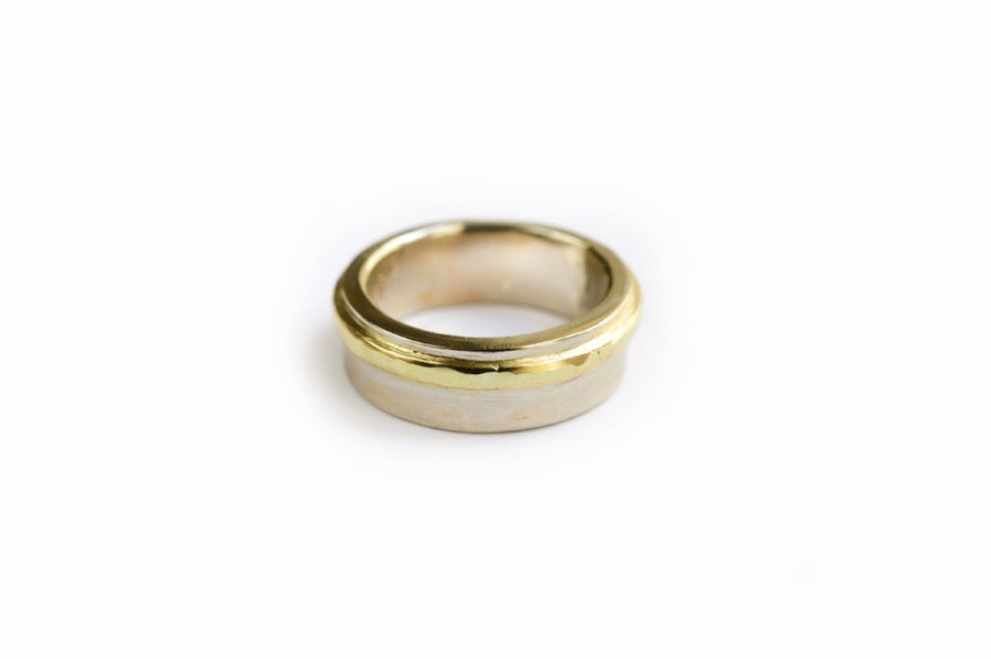 Hammered Gold Mens Wedding Band