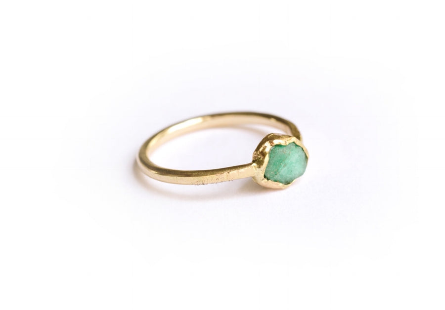 Raw Green Emerald 14k Gold Rustic Hammered Engagement Ring