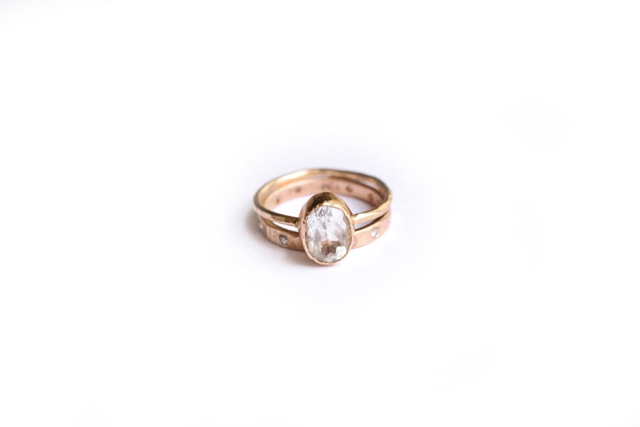Oval & Dot | Oval Rose Gold Hammered Engagement Ring Set - Melissa Tyson Designs