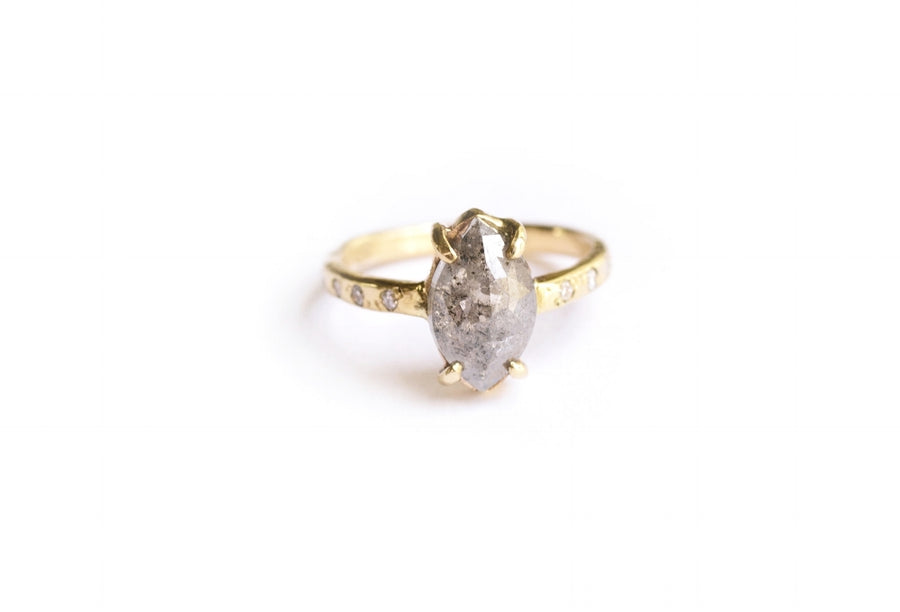 Winter | Gray Rose Cut Diamond Marquise 14k Gold Engagement Ring - Melissa Tyson Designs