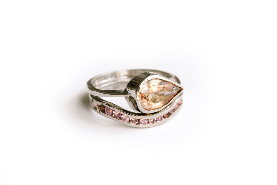 Pink Sunrise | Pink Pear Morganite Engagement Ring Set - Melissa Tyson Designs