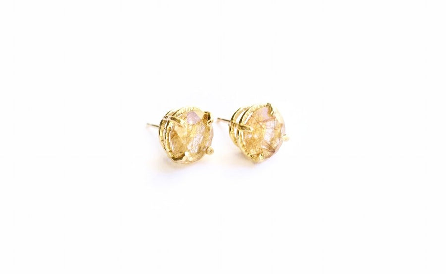 Rutilated Quartz with Golden Thread Pattern in Hammered 14k Gold Basket Stud Earrings
