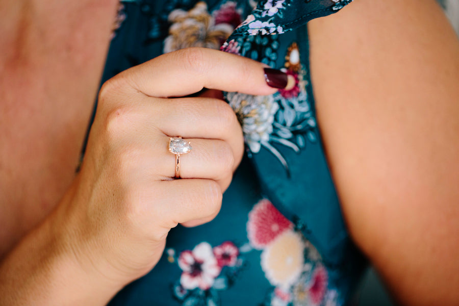 Salt and Pepper Pear | Diamond and Rose Gold Engagement Ring - Melissa Tyson Designs
