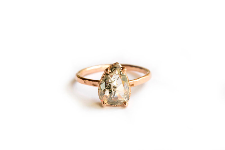 Salt and Pepper Diamond Pear Rose Gold Hammered  Engagement Ring