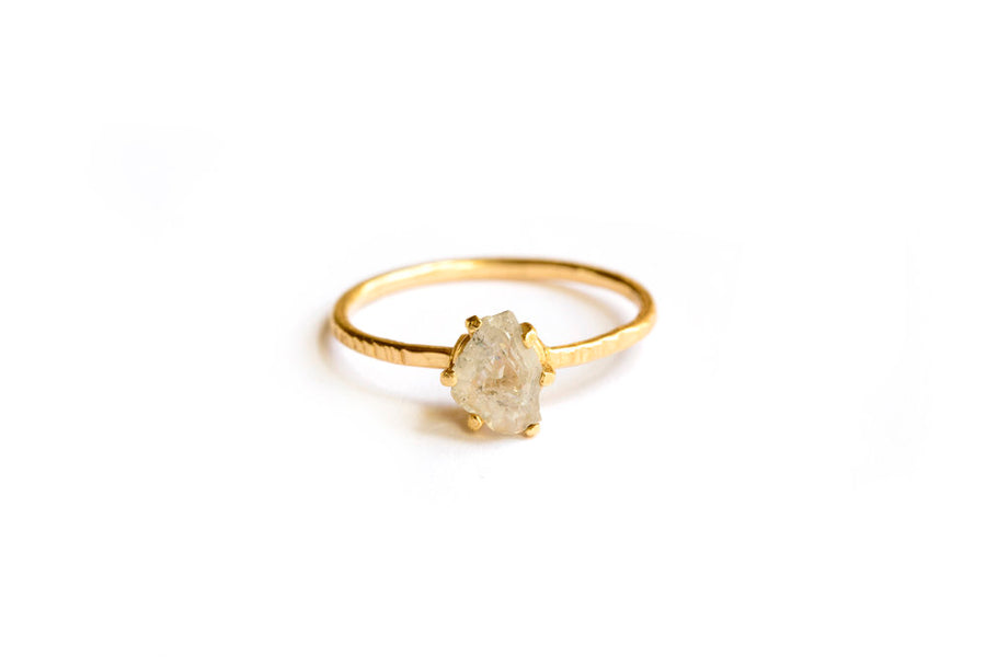 Raw Salt and Pepper Diamond Hammered 14k Gold Engagement Ring - Melissa Tyson Designs