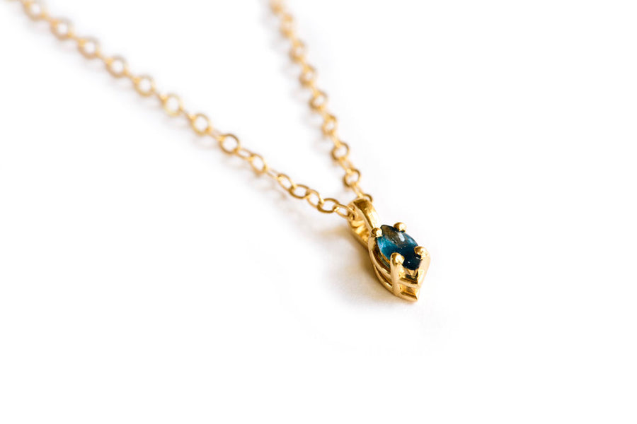 Midnight Marquise | Blue Sapphire and Gold Marquise Necklace - Melissa Tyson Designs