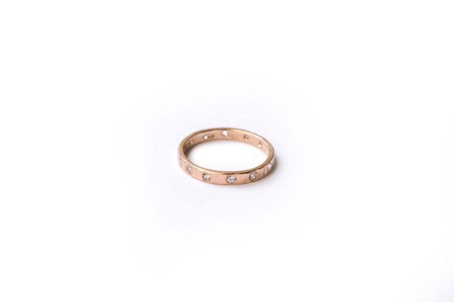 Eternity Diamond 14k Rose Gold Hammered Wedding Band