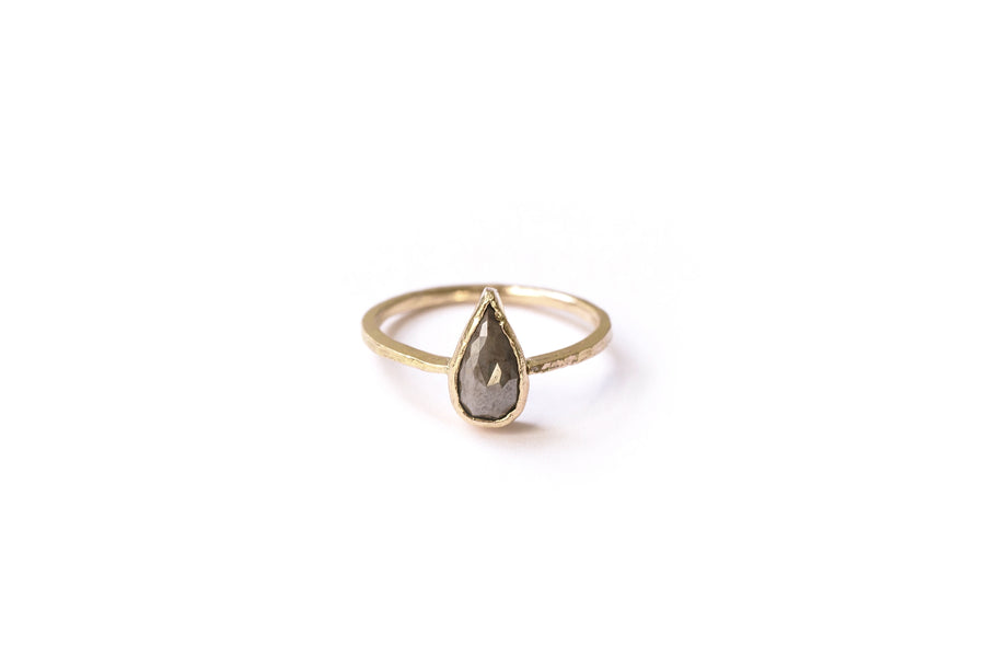 Amira | Gray Rose Cut Pear Diamond 14k Gold Hammered Knife Edge Engagement Ring - Melissa Tyson Designs