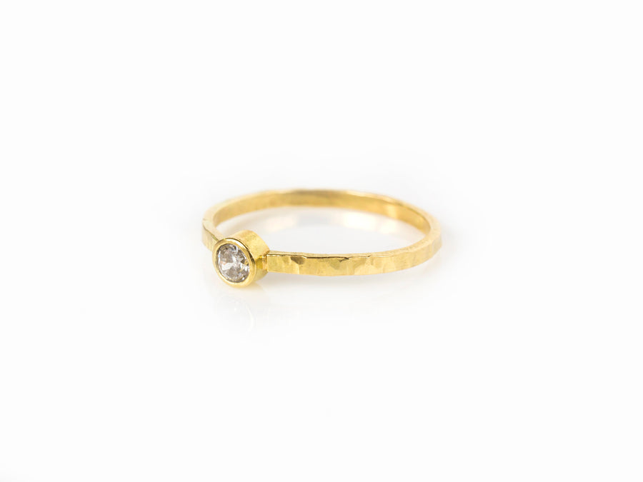 Hammered Diamond 14k Gold Engagement Ring