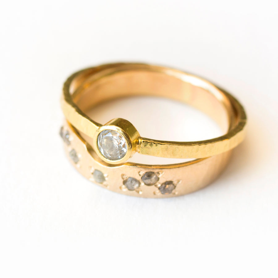 Rustic Hammered Gold Diamond Engagement Ring