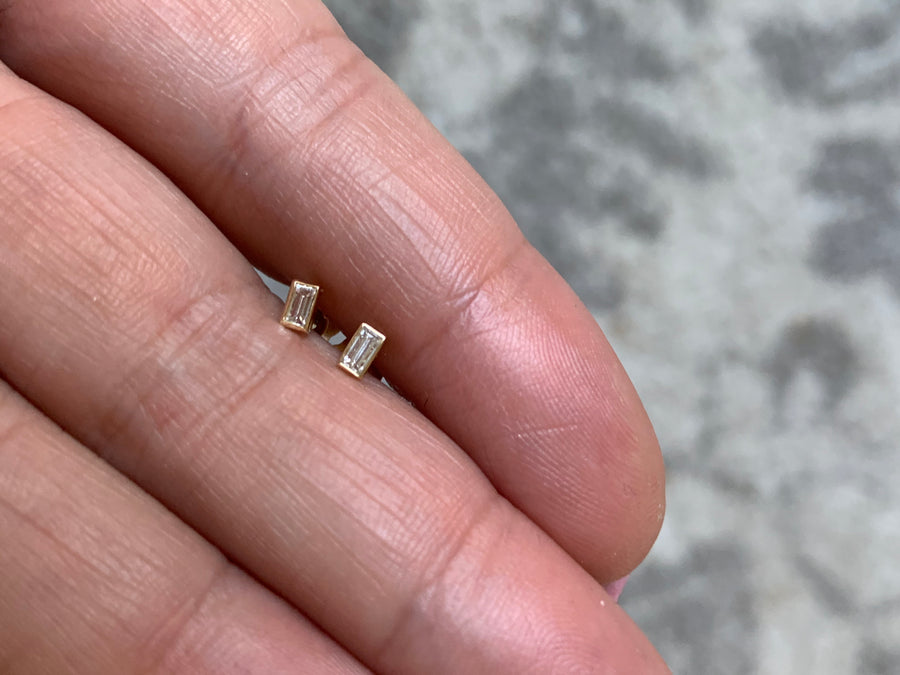 Tiny Emerald Cut Diamond Studs