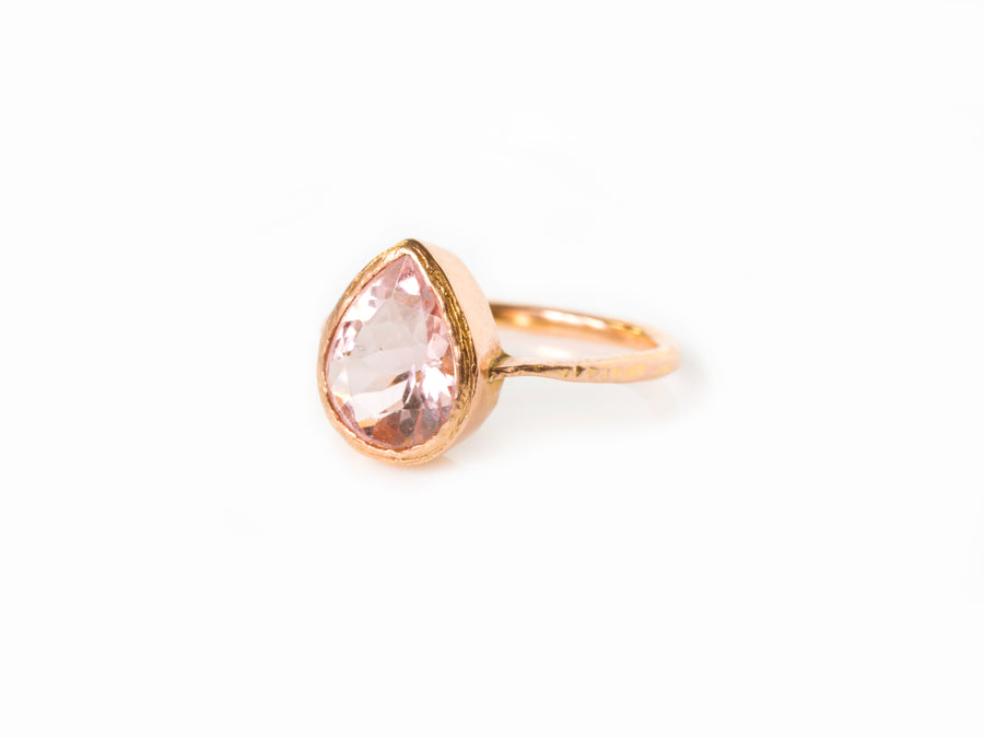Morganite and Rose Gold Engagement Ring Set