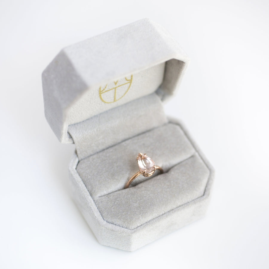 Pear Pink Morganite Engagement Ring in 14k Rose Gold