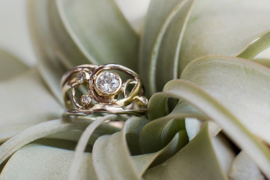 Jo |  Diamond Split Band Engagement Ring - Melissa Tyson Designs