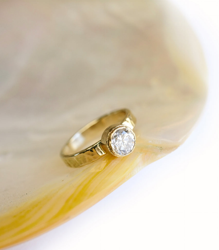 Organic Diamond Engagement Ring with Hammered Band