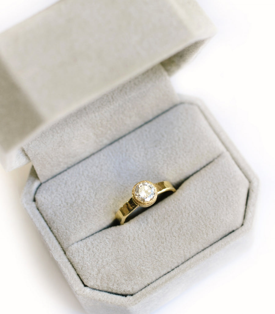 Organic Diamond Engagement Ring with Recycled Gold Band