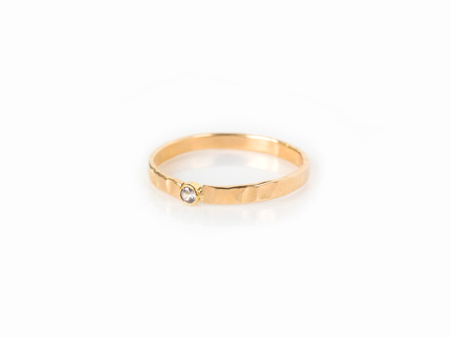 Tiny Diamond Hammered Gold Ring