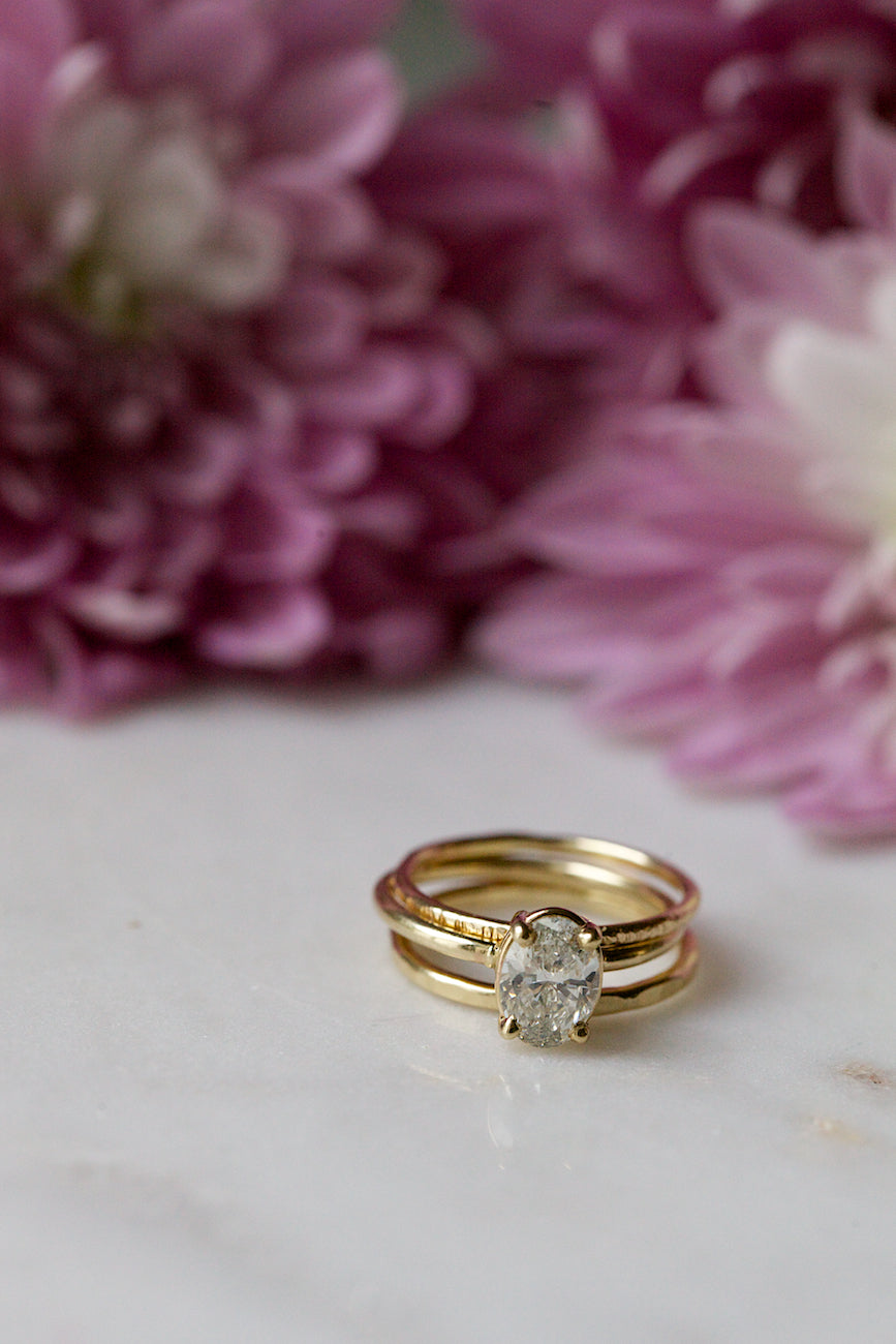 Oval Diamond Thin Band Engagement Ring