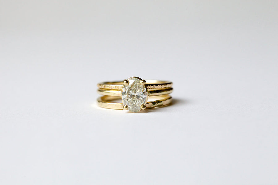 Sarina | Oval Diamond Thin Band Engagement Ring Stacking Set 14k Hammered Gold - Melissa Tyson Designs