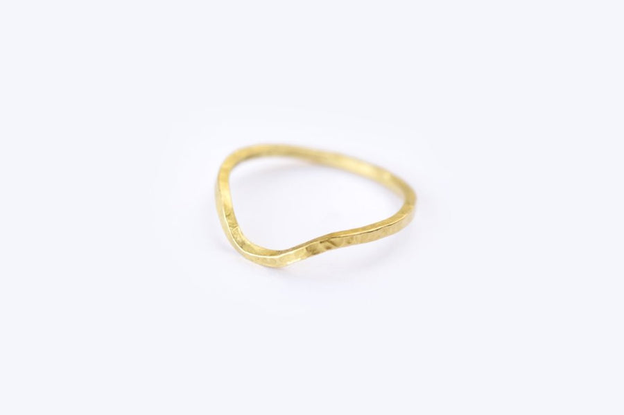 Hammered Gold U-Shape Wedding Band - Melissa Tyson Designs