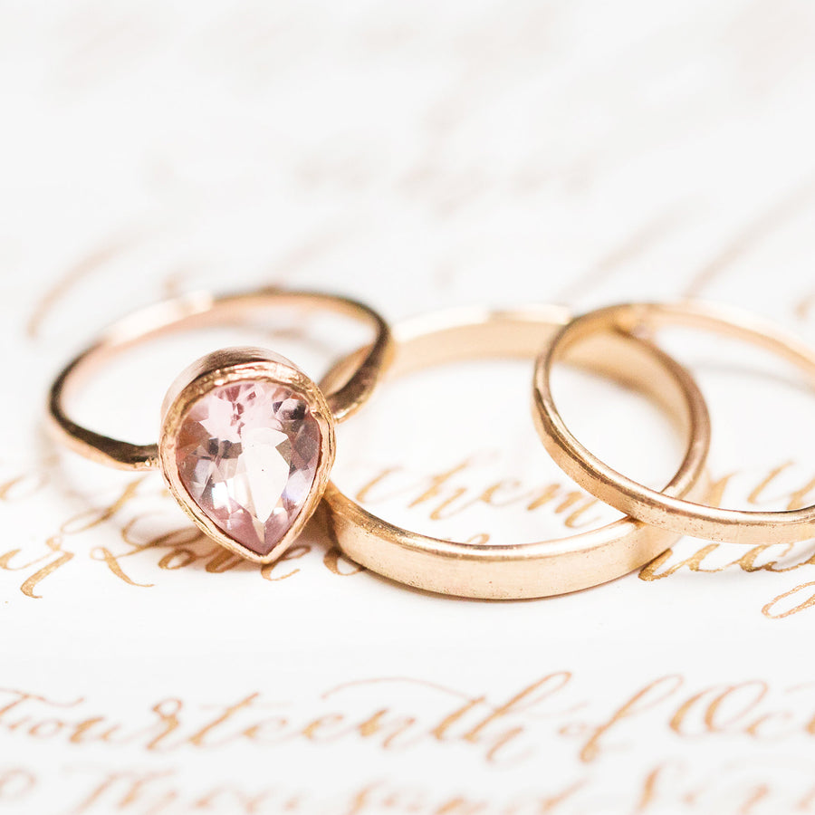 Pear Pink Morganite Engagement Ring in Hammered 14k Rose Gold