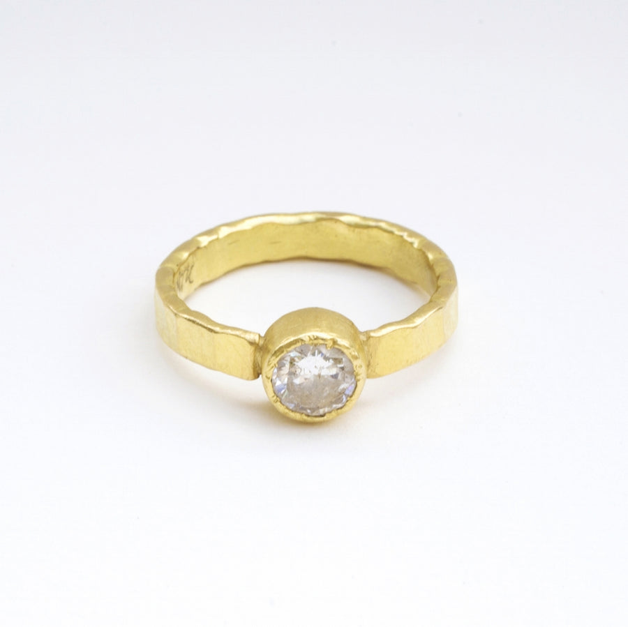 Bezel Set Diamond Engagement ring with 18k hand hammered gold