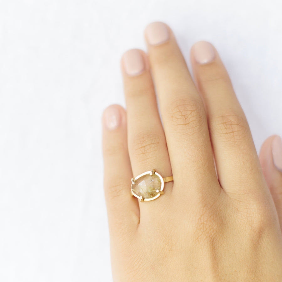 Wisp in Prongs | Rudilated Quartz Engagement Ring - Melissa Tyson Designs