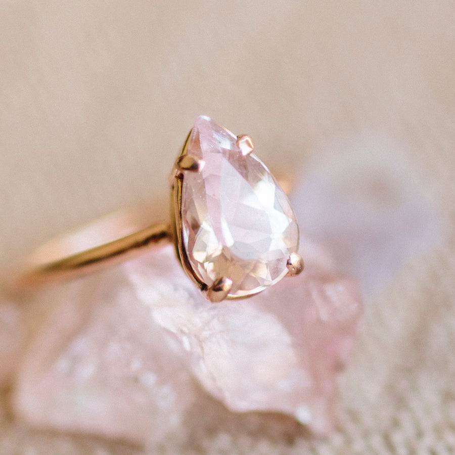 Pretty in Pink | Pear Pink Morganite Engagement Ring in 14k Rose Gold - Melissa Tyson Designs