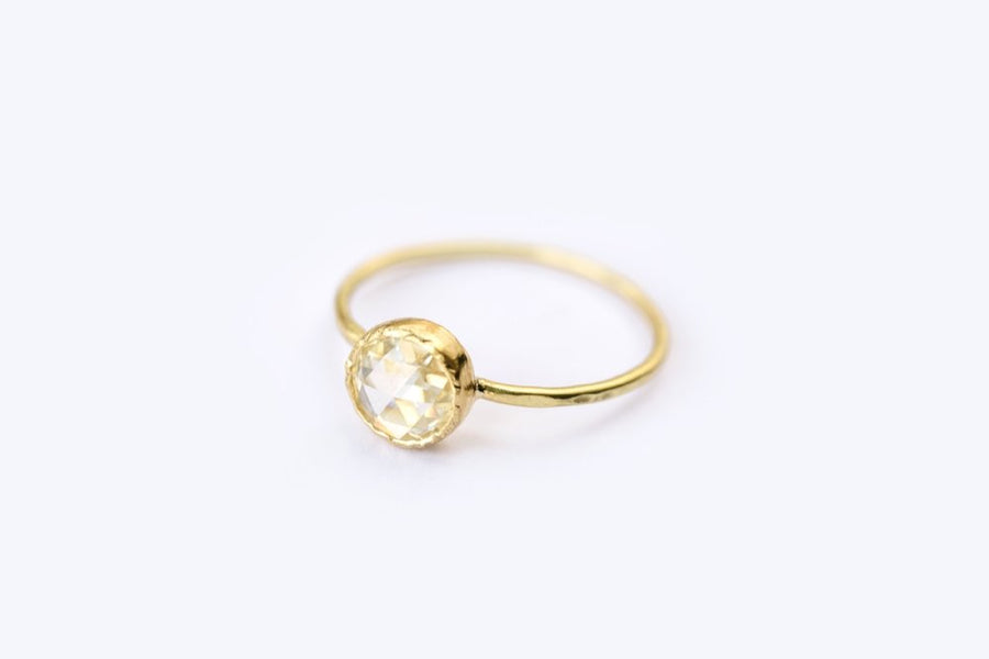 Round Rose Cut Moissanite Engagement Ring in Hammered 18k Gold