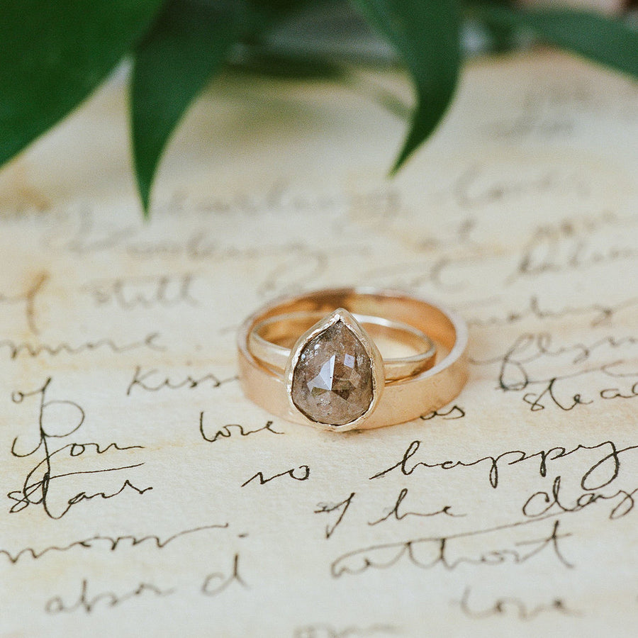 Brown Pear-Shaped Diamond Engagement Ring