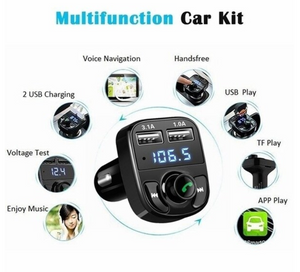 Newest Car Kit Bluetooth MP3 Player Hands-free Call Wireless FM Transmitter Radio Adapter DC 12-24V with Dual USB Car Charger