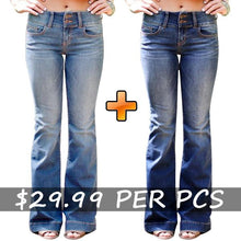 Load image into Gallery viewer, Mid Waist Casual Button Bell-bottom Jeans