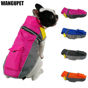 Winter Waterproof Dog Jacket Night Reflective with Small Backpack
