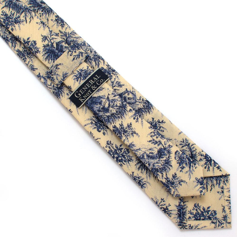 "1930s Cape Cod Toile Necktie - General Knot & Co. ,  Classic Necktie 2 7/8"" x 58"" - Neckwear and travel bags"