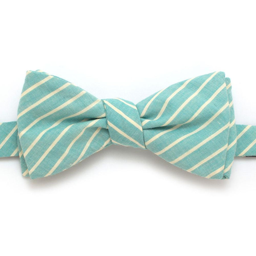 "1930s Soft Mint Stripe Bow - General Knot & Co. ,  Self-Tied Classic Bow Tie 2.5"" at Widest - Neckwear and travel bags"