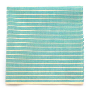 "1930s Soft Mint Stripe Square with Selvedge - General Knot & Co. ,  Squares 13""x13"" - Neckwear and travel bags"