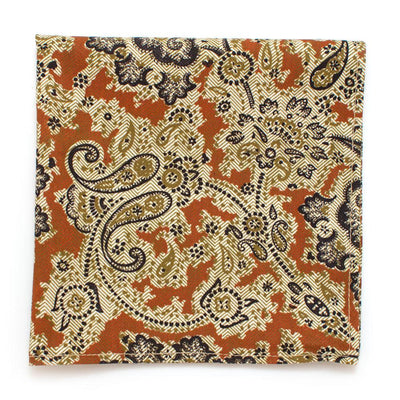 "1940s Cinnamon Paisley Square - General Knot & Co. ,  Squares 13""x13"" - Neckwear and travel bags"