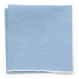 "1940s Pale Blue Selvedge Square - General Knot & Co. ,  Squares 13""x13"" - Neckwear and travel bags"