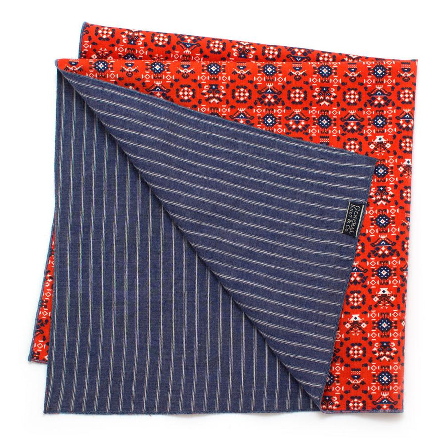 1940s Pennsylvania Dutch/ Chambray Double Sided Bandana - General Knot & Co. ,  Squares - Neckwear and travel bags