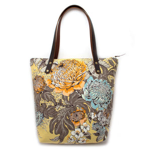 1950s Blooming Mums Portfolio Tote - General Knot & Co. ,  Bags - Neckwear and travel bags