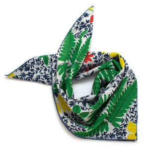1950s Bright Tropic/ Denim Stripe Double-Sided Bandana - General Knot & Co. ,  Squares - Neckwear and travel bags
