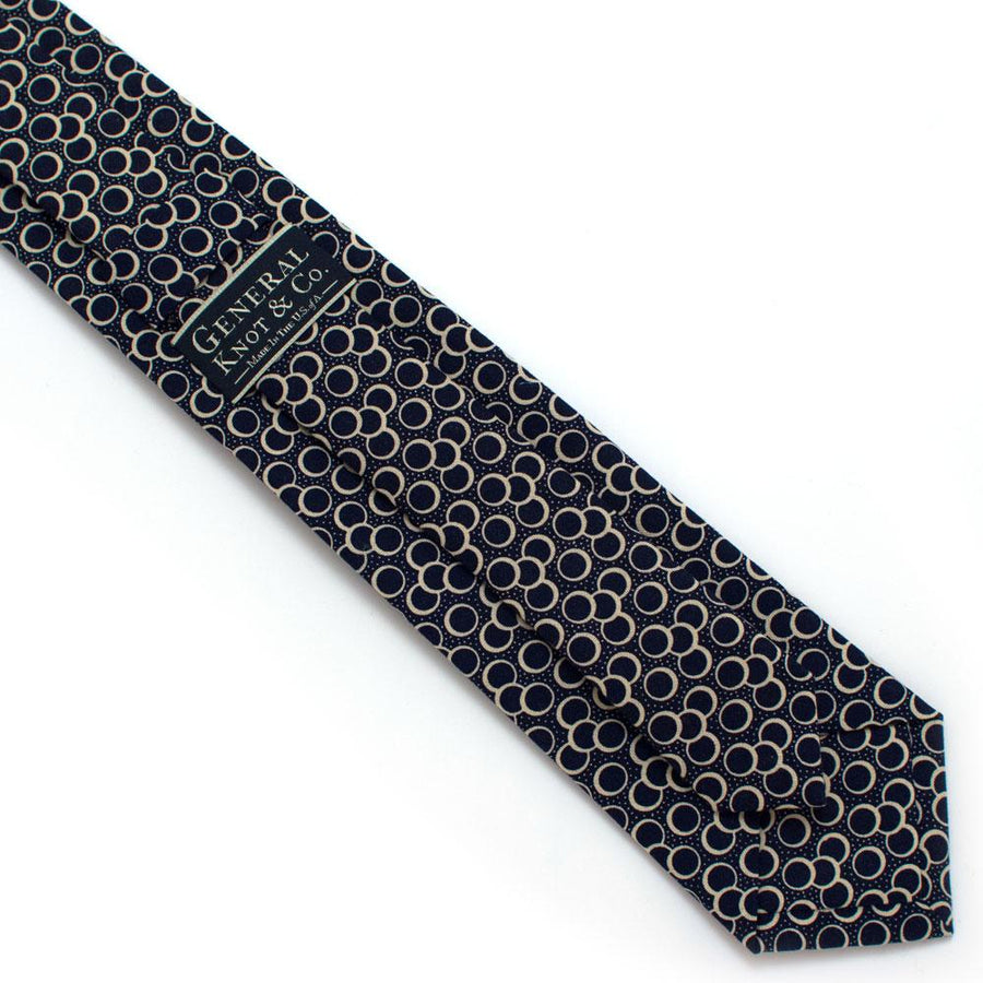 "1950s Navy Eclipse Necktie - General Knot & Co. ,  Classic Necktie 2 7/8"" x 58"" - Neckwear and travel bags"