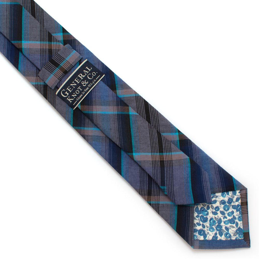 "1960s Southfork Plaid Necktie - General Knot & Co. ,  Classic Necktie 2 7/8"" x 58"" - Neckwear and travel bags"