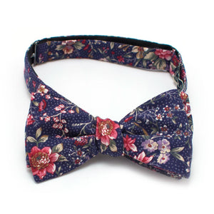 "1960s Utrecht Floral Classic Bow - General Knot & Co. ,  Self-Tied Classic Bow Tie 2.5"" at Widest - Neckwear and travel bags"